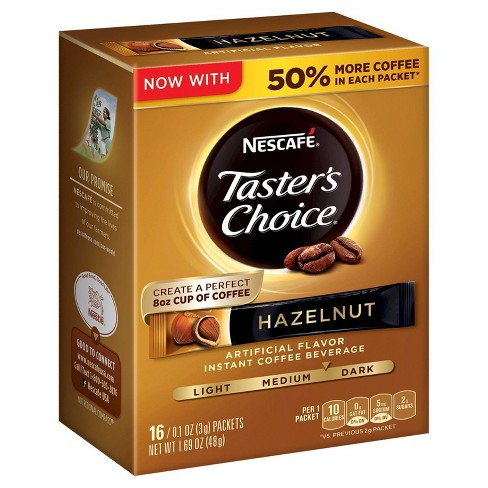 Nescafé Taster's Choice Hazelnut Gourmet Dark Roast Instant Coffee - 16ct :  Target